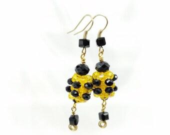 Crystal beaded bumblebee earrings