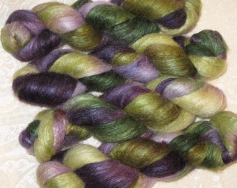 Handpainted Roving -- Blueface Leicester and Silk