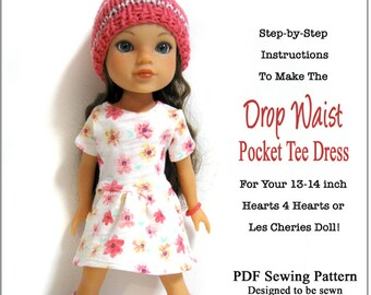 Pixie Faire 123 Mulberry St Drop Waist Pocket Tee Dress Doll Clothes Pattern for 13-14 inch Hearts for Hearts or Les Cheries Dolls - PDF