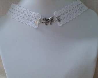 """white lace and Butterfly"" Choker necklace"