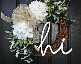 Welcome Wreath, Summer Wreath, Olive Branch Wreath, White Hydrangea Wreath, Hi Sign, Wreath with Hi Sign, Porch Wreath, Front Door