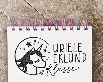 School Stamp Small with unicorn 5 x 2.5 cm