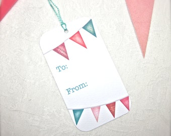 DOWNLOAD and PRINT-Summer Bunting Gift Tags