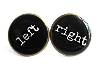 Black Sarcastic Left / Right Stud Earrings - 90s Soft Grunge Pastel Goth Rude Conversation Heart Jewelry - Bubblegum Nu Goth Lolita Studs