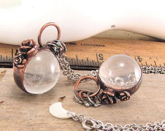 Crystal Ball Necklace: Scrying Amulet Quartz Crystal Ball Pendant Fortune Teller Necklace Psychic Reading Talisman Rustic Boho Gypsy Jewelry