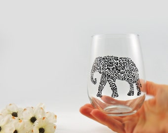 Elephant glass - Hand painted elephant stemless wine glass - Elephant gift - Safari Collection