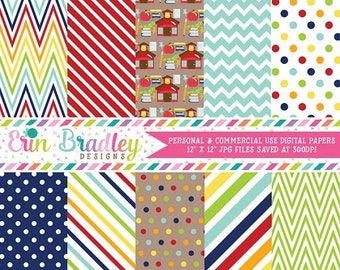 80% OFF SALE School Digital Paper Pack Collection Rainbow Chevron Stripes and Polka Dots Teachers Digital Patterned Paper Set