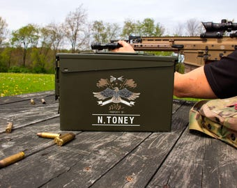 Father's Day Gift | Personalized Ammo Box | Personalized Ammo Can | Groomsmen Gift Idea | Eagle Ammo Can | .30 Caliber Ammunition Box
