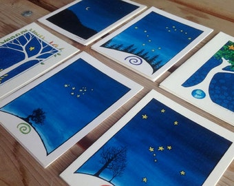 Tree and Stars Notecards - set of 12 blank cards and envelopes