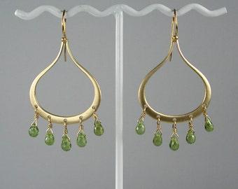 Peridot Gold Chandelier Teardrop Earrings