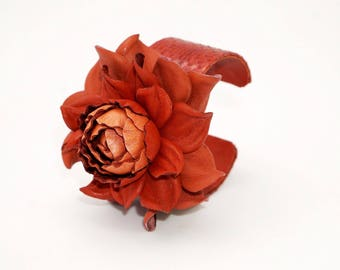 Genuine leather bright terracotta flower on a genuine snake skin open cuff, snakeskin covered metal open end bracelet w/ real leather rose