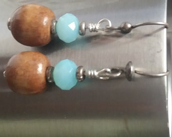 Wooden Earrings- Made From Wooden Beads and Aqua Crystal shaped Bead