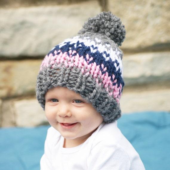 Baby Girl Knit Hat Newborn Fair Isle Hat Pom Pom Hat for