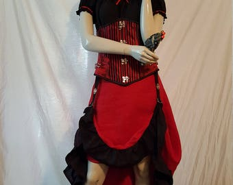 Red and Black Female Steampunk Ensamble