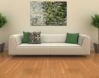 Large Abstract painting palette knife art mens gift for father Modern paintings Acrylic art gallery painting wall canvas Green decor art