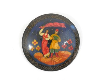 Vintage Russian Brooch Hand Painted Dancers on Black Lacquer Signed