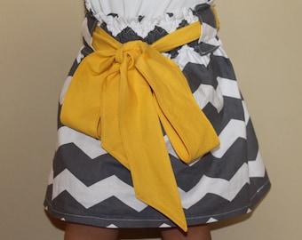 Girls Gray Chevron Big Bow Skirt - custom