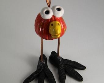 happy bird, ceramic bird, bird figurine, handmade bird, bird art, red bird, bird