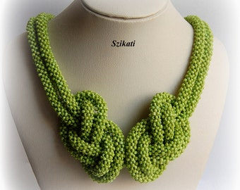 Beadwoven Necklace, Statement Knotted Seed Bead Necklace, Beaded High Fashion Jewelry, Beadwork, RAW, Women's Accessory, Gift for Her, OOAK
