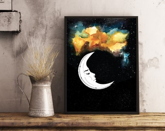 Moon Galaxy star poster illustration digital watercolor