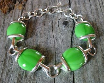 """unique ART GLASS artisan crafted chunky wire wrap bracelet. High design, great fresh pop of color, adjustable from 7 1/2"""" to 8 3/4"""""""