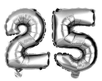 25 Number Balloons, 25th Birthday Party Balloons, 25 Balloon Numbers, 25 Party Supplies, 25th Birthday Decorations, Decor, 40 Inch Silver