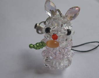 1 Rabbit charm and glass beads - 16 mm high (5)