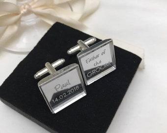 Personalised Engraved Modern Square Silver Mirror Cufflinks. Groom, Groomsmen, Gift, Weddings