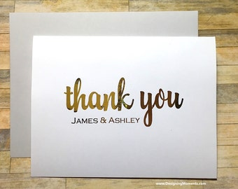 Gold Foil Wedding Thank You Cards - Personalized Thank You Cards - Gold Foil Stationery - Calligraphy - Wedding Thank You Cards DM133