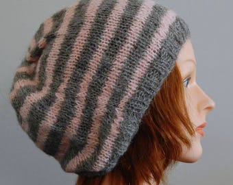 Natural RIAF Soft Warm Hand Crafted Striped Alpaca Slouchy Beanie Hat, Gray and Pink