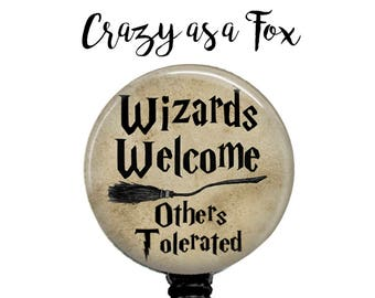 Wizards Welcome Retractable Badge Holder,  Badge Reel, Lanyard, Stethoscope ID Tag, Nurse, RN, Student, Harry Potter inspired