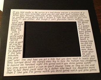 Handwritten Song Lyric Matte (no frame and no color)