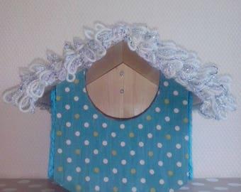 birds fabric and crochet log cabin
