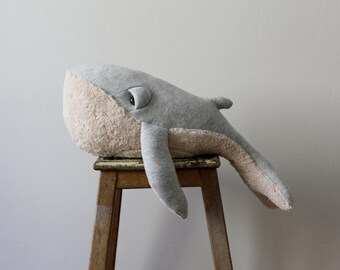 Small Whale Stuffed Animal <0> Plush Toy <0> Cotton Jersey & Cotton Faux Fur