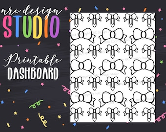 SALE Planner Dashboard Printable, Bow Dashboard, Planner Girl Digital Paper, Printable Planner Paper - Bow No. 05