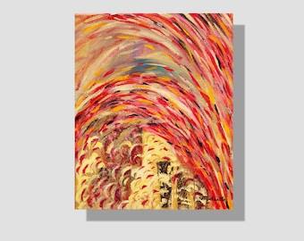 """Peinture abstraite contemporaine à l'acrylique sur toile. """"Vigueur"""", petit tableau rouge, jaune, noir, doré. art mural. home decor."""