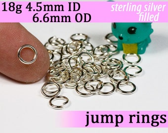 18g 4.5mm ID 6.6mm OD silver filled jump rings -- 18g4.50 open jumprings