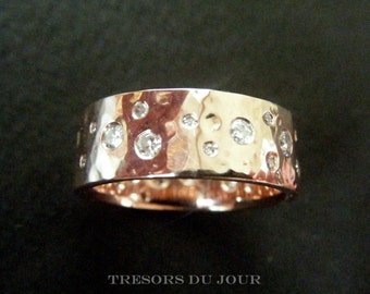 Unique Diamond Wedding Band HAMMERED Rose Gold wedding BAND Diamonds 'Starry Night' Wedding Ring Eternity Band Diamond Anniversary Ring