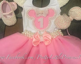 Baby Pink Minnie Mouse dress, Pearls Minnie Mouse tutu set