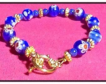 Blue Millefiore Venetian & Czech Glass Bead Bracelet