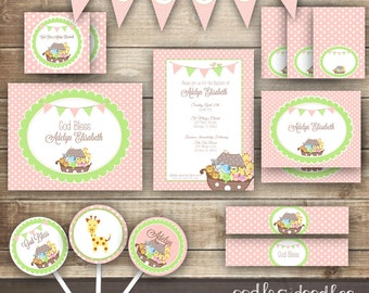 Baby Girl's Baptism PARTY PACKAGE, Noah's Ark,  Christening or Dedication, Pink & Green Party Kit, Baptism Party Printables - Printable