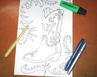 cowboy boot texas coloring kids adult rodeo boot far west sherif download colouring book relax gift american printable art lasoffittadiste