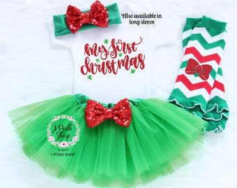 Baby First Christmas Outfit, Baby First Christmas Outfit Girl, Baby First Christmas Bodysuit, Baby Christmas Gift, My First Christmas HC1
