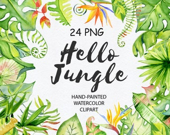 Tropical clipart Tropical leaves Floral clipart Watercolor leaves Summer clipart Watercolor clipart Tropical leaf Invitation Jungle clipart