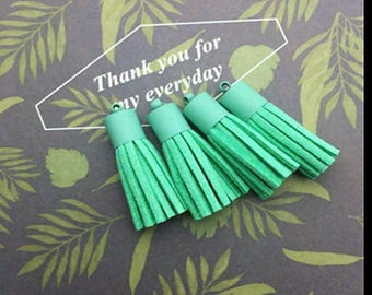 2 beautiful mint and mint metal tip suede tassels matte 35mm