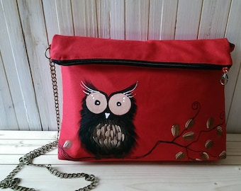 OWL Messenger bag, fun style hand painted red fabric