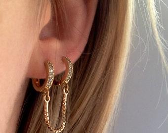 CZ handcuff  hoop earring