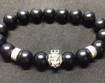 Sterling Silver 925 lion head and Onyx stones bracelet
