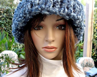 Crocheted Hat - Antique Blue