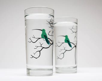 Hummingbird Glassware - Set of 2 Everyday Drinking Glasses, Mother's Day Gift, Green Hummingbirds, Tabletop, Mother's Day, Gifts for her